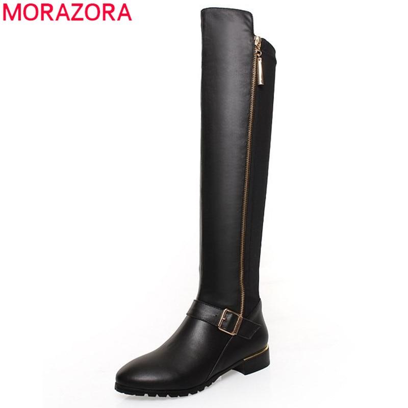 MORAZORA Plus size 34 42 pu genuine leather boots buckle zipper square heel autumn winter knee