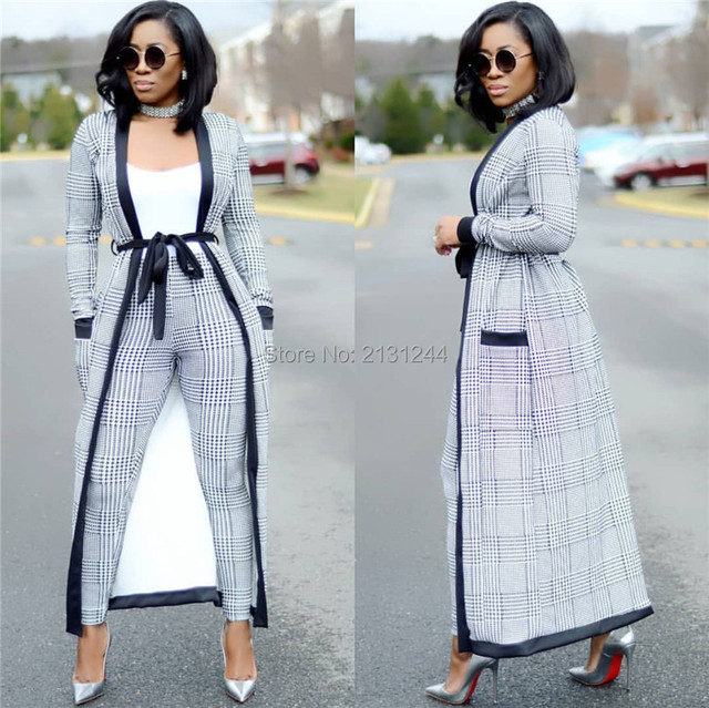81926facc63f3 2018 Plaid Print coat+tshirt+Pant Summer tracksuit Full Sleeve fashion sexy women s  set Three pieces Jumpsuit suits casual AM257-in Women s Sets from ...