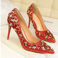 7 Colors Sweet Bling Flower Decoration 9cm High Heels Women Pumps  Pointed Toe Fashion Women Wedding Party Shoes  Size 34-39