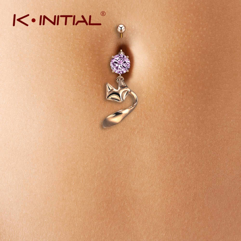 Kinitial Fashion Pink Crystal Belly Button Rings Animal Dangle Fox Ring Women Stainless Steel Navel Sexy Body Piercing Jewelry