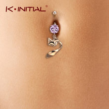 Kinitial Mode Roze Crystal Navel Ringen Animal Dangle Vos Ring Vrouwen Rvs Navel Sexy Body Piercing Sieraden(China)