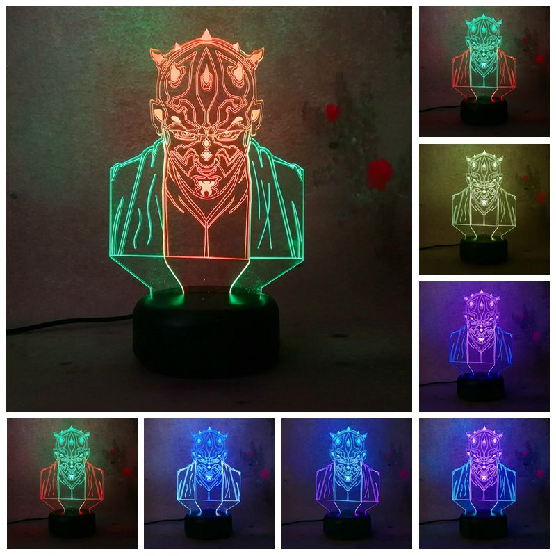 Amazing 3D illusion Star Wars Darth Maul Vassal Jedi Knight Figure IR Lamp Multicolor To ...