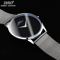 IBSO Ultra Thin Mens Watches Top Brand Luxury Stainless Steel Mesh Strap Sports Quartz Watch Men