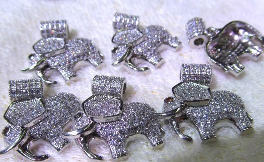 AAA grade 22X30mm 6pcs pave metal spacer &cubic zirconia crystal elephant animals jewelry bead tungsten metal bead bead rare refractory metal bead w 99 95% 5 grams