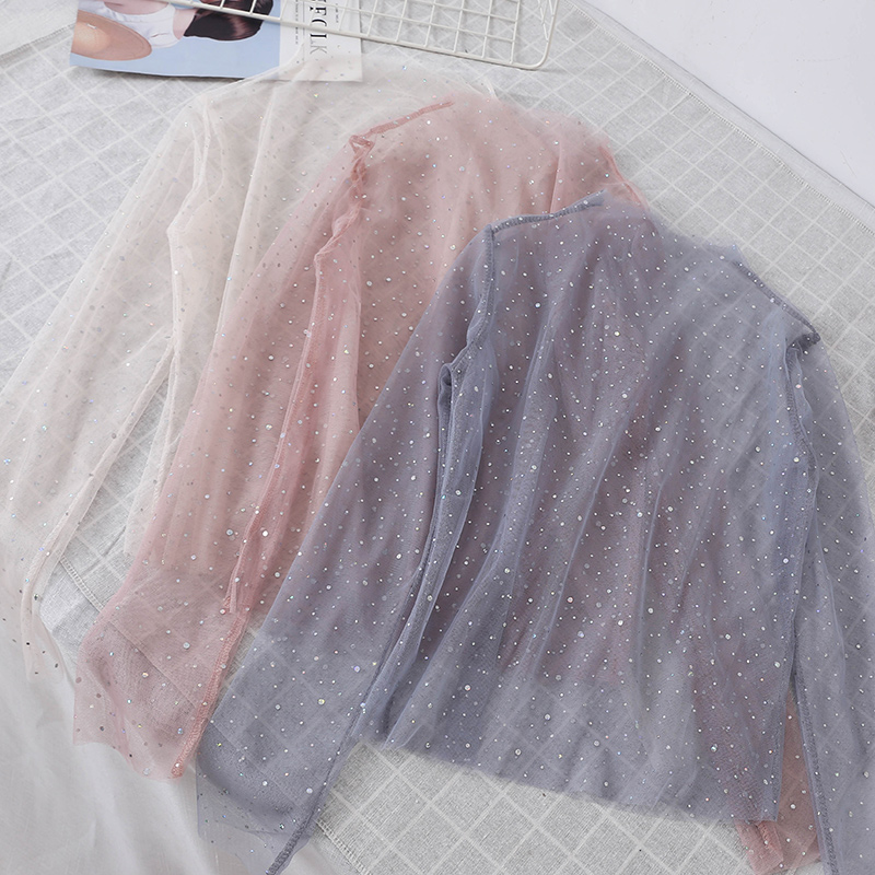 Women Summer O-Neck Pullover Basic Shirt Casual Loose Size High Waist Sequined Star Mesh Gauze Voile Ruffles Lace Blouse Tops