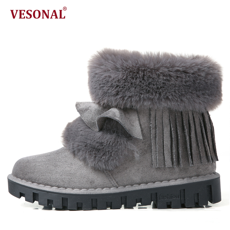 VESONAL Brand Shoes Women Boots 2017 Winter Female Fashion Warm Velvet Faux Fur Ladies Ankle Snow Boots Woman Platform Footwear