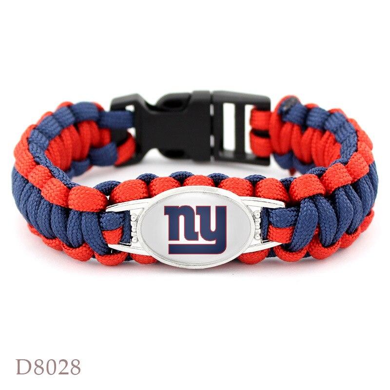 NY Giants браслет футбольная команда зонтик плетеный браслет открытый побег выживания ручной веревку выживания Спасательное браслет