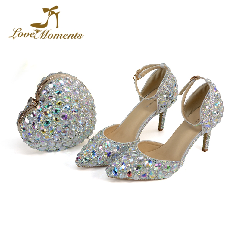 2018 Newest Design Sparkling AB Crystal Wedding Shoes with Heart Shape Purse Pointed Toe Wedding Party Shoes for Bridesmaid Pump