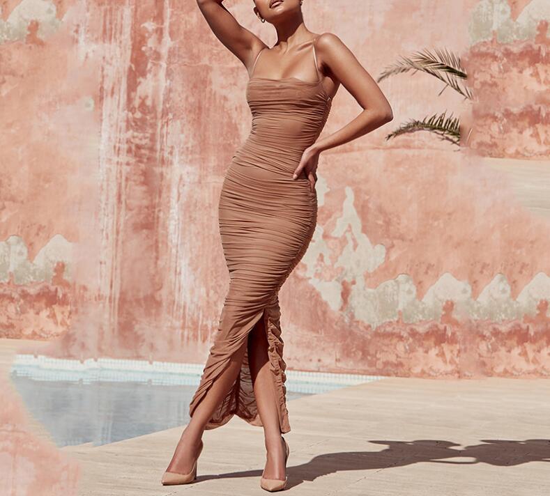 Maxi été robe 2018 Sexy blanc moulante Club robe Organza robe tissu maille robe avec fente pour la fête
