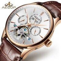 Aesop Watch Men 2019 Automatic Mechanical Wristwatch Leather Crystal Waterproof Hollow Male Clock Relogio Masculino Hodinky Saat