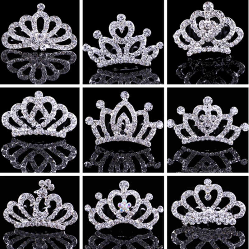 Children Crown Rhinestone Hair Ornaments Tiaras Crystal Princess Crown Children Hairpins Girls Hair Accessories Girls Hair Clip