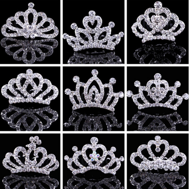 Children Crown Rhinestone Hair Ornaments Tiaras Crystal Princess Crown Children