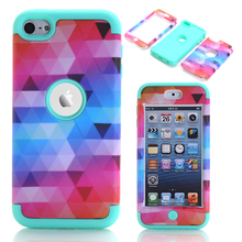 Touch 6 Cases Colorful Phone Cases For iPod Touch 6 Hybrid Silicone Anti-Shock Fundas Conque w/Screen Protector Film+Stylus Pen