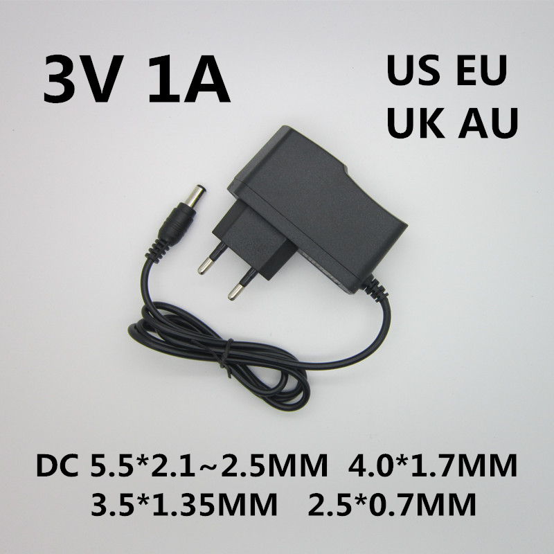 1pcs Best quality AC/DC Converter Adapter Charger Power Supply DC 3V 1A 1000ma AC 100-240V Adapter EU Plug 5pcs best quality dc plug dc plug long 5 5 2 1mm solder free shipping