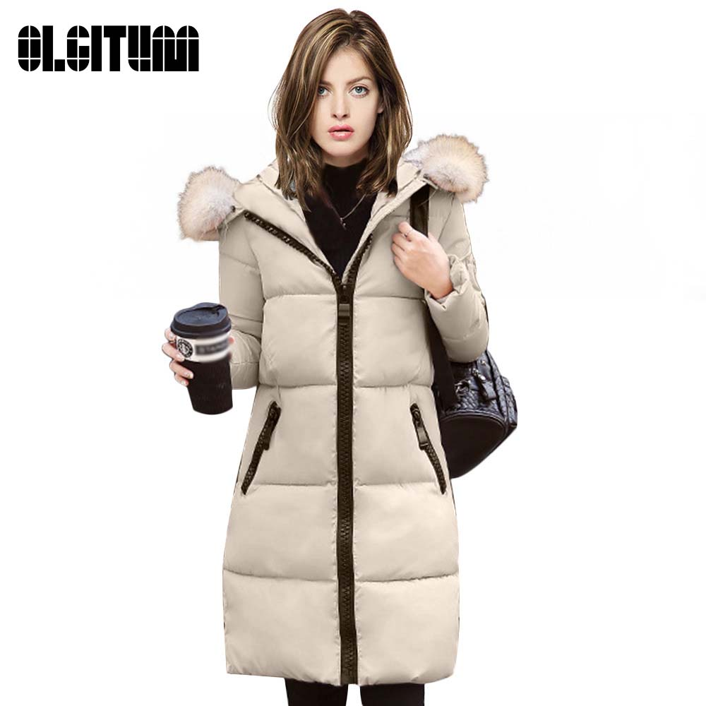ФОТО 2017 Winter Women's Thicken Down Parkas Long Jacket Women Slim Solid Hooded Fur Collar Zippers Pocket Warm cotton Coat