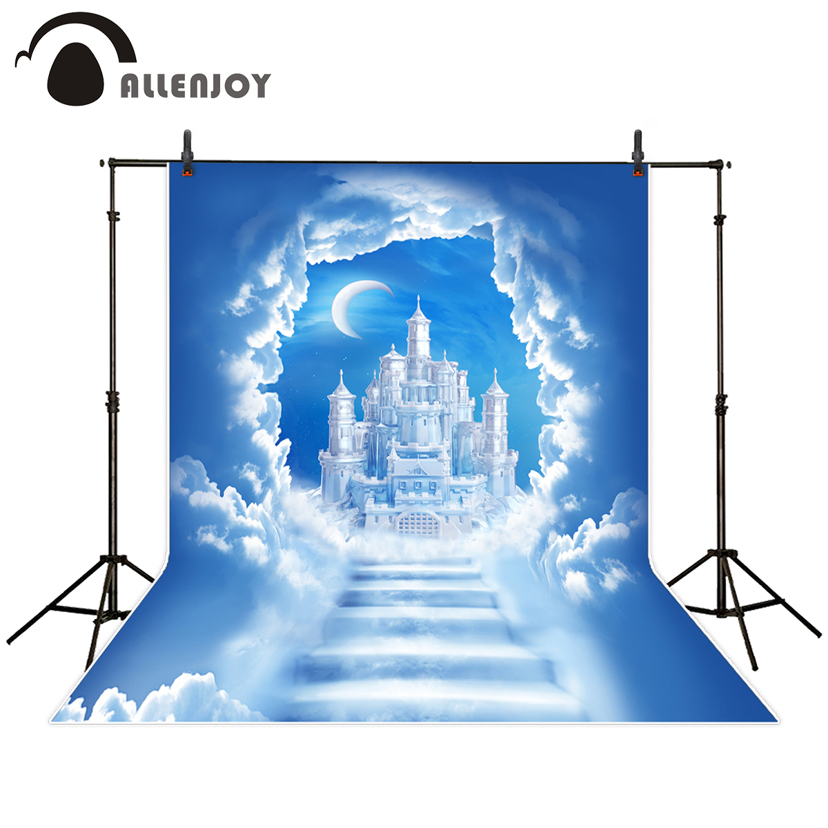 Allenjoy photography backdrop cloudy sky stair christmas moon ice castle background photo studio new design camera fotografica