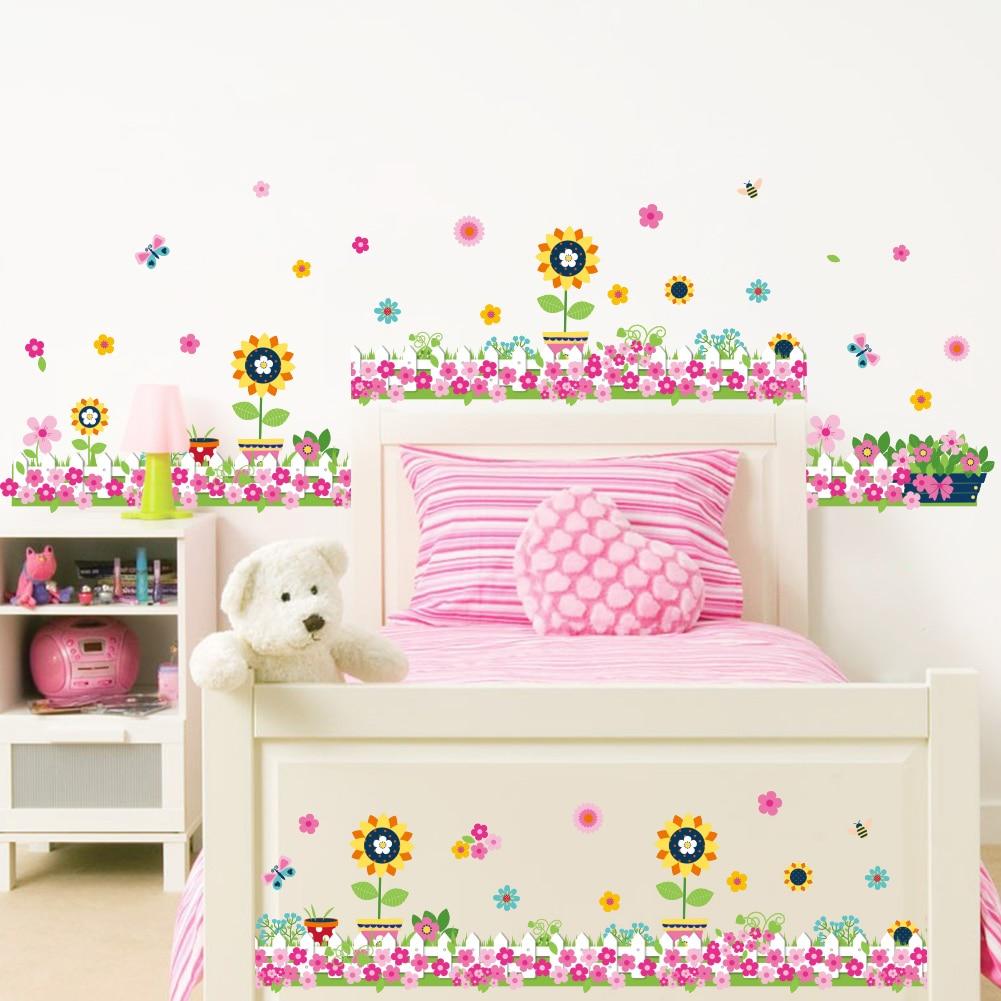 Fleur Pour Decoration Salon ᐊcoloré fleurs papillon abeille stickers muraux pour