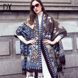 Image 2 - New Winter Scarf for Women Luxury Brand Pashmina Cashmere Poncho Blanket Scarf Wrap Wool Scarf Women Bandana Muslim Hijab Shawl