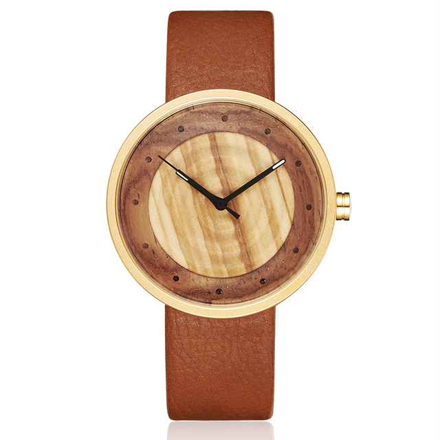 Women Men Bamboo Wood Watch Man Ladies Wooden Wrist Watches Leather Retro Couple