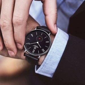 Image 3 - Herenhorloge Hemsut ultradunne Mannen Horloge Bruin Lederen Quartz Horloge 3ATM Waterbestendig Zwart relogio masculino 2018