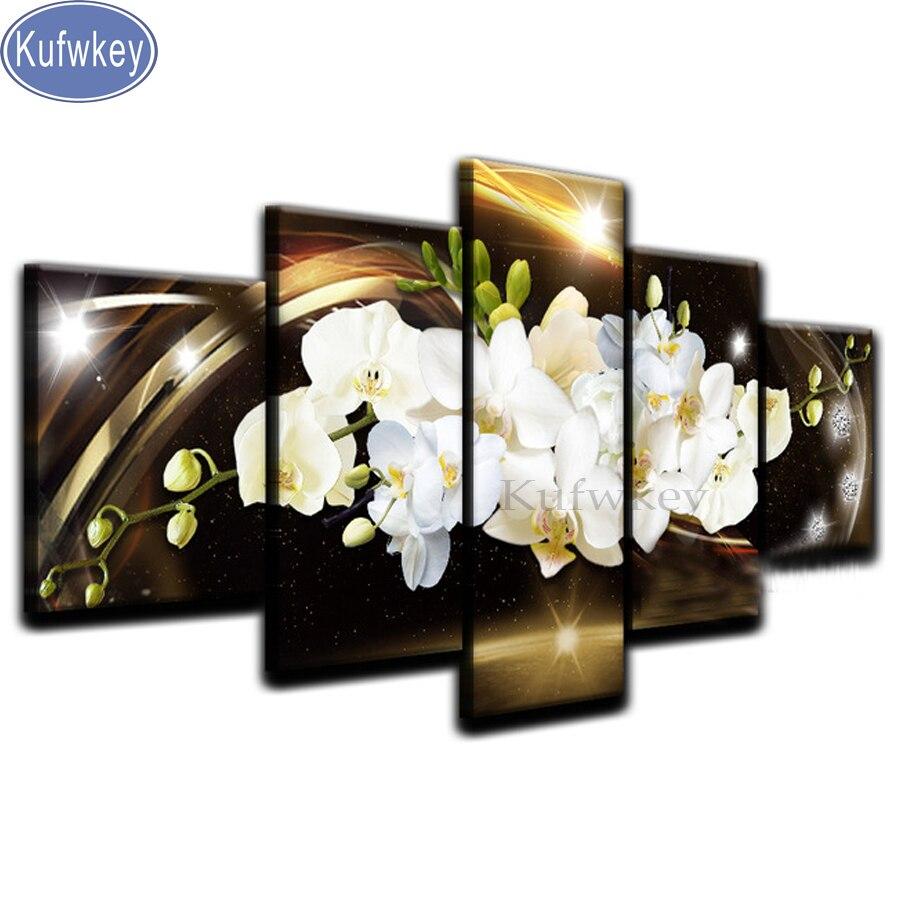 Diamant peinture 5 pièces, papillon blanc orchidée, mosaïque pour salon décor photos de strass, 5d broderie carré perceuse