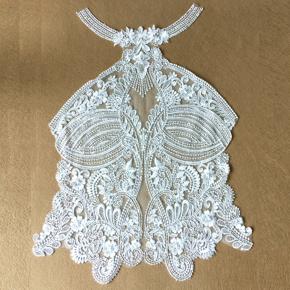 Seeds Beaded Embroidered Lace Patch Sew On Applique Patches For Wedding Dress Embroidery Appliques Parches Lace 57x41cm AC1290