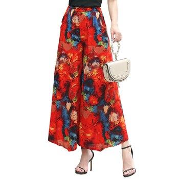 Haute qualité femmes mode 2018 élastique été pantalon femmes imprimer Floral large jambe pantalon Vintage lâche pantalon femme grande taille