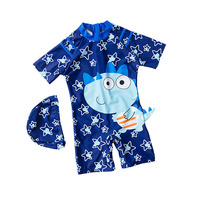 2 10 Year Boy One Piece Suit With Cap Children Cool Cartoon Swimwear 2019 Kid Short Sleeve Swimsuit Baby Cute Bathing Suit