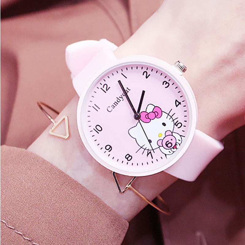 Korean 2019 Hot Sales Lovely Hello Kitty Cartoon Watch Children Girls Student Quartz Watch Silicone Strap Kids Watch Jelly Color