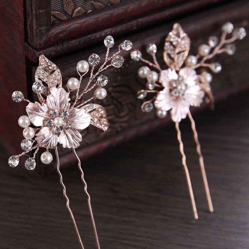 FORSEVEN Gold Crystal Pearl Rhinestone Leaf Hairpins Hair Sticks Headpiece Bridal Hair Pin Wedding Hair Jewelry Accessories JL