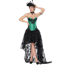 873ca133cdf Sladuo Victorian Gothic Lace Green Satin Overbust Corset Dress Waist  Slimming Shaper Body Costume Retro Cosplay