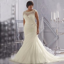 Discount Ivory White Organza Plus Size Wedding Dresses with Cap Sleeves Appliqued Beaded Mermaid Bridal Gown