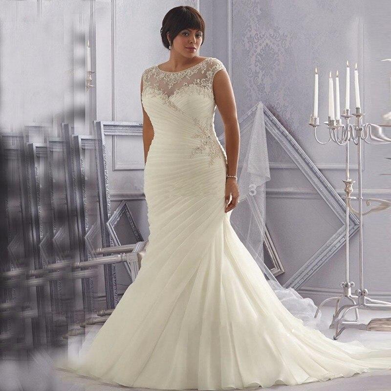 Discount Ivory White Organza Plus Size font b Wedding b font font b Dresses b font