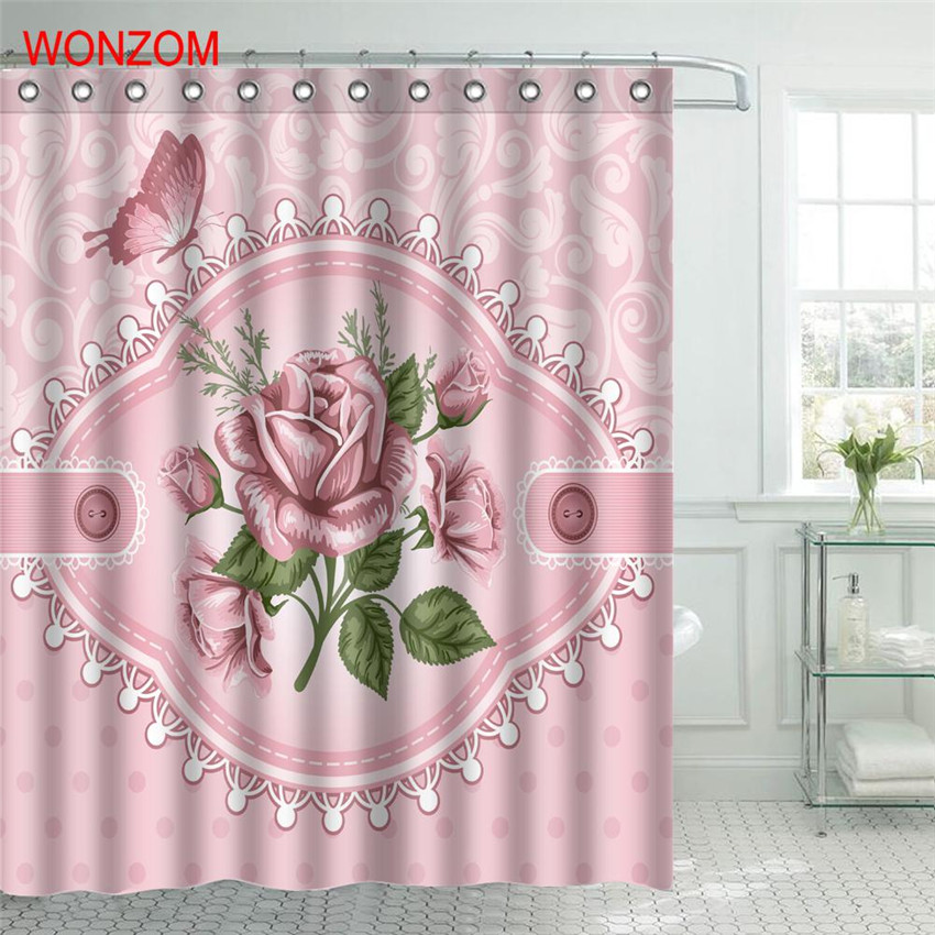 WONZOM Pink Rose Shower Bathroom Waterproof Accessories Curtains For Decor Modern Pink Flower Bath Curtain with 12 Hooks Gift in Shower Curtains from Home Garden