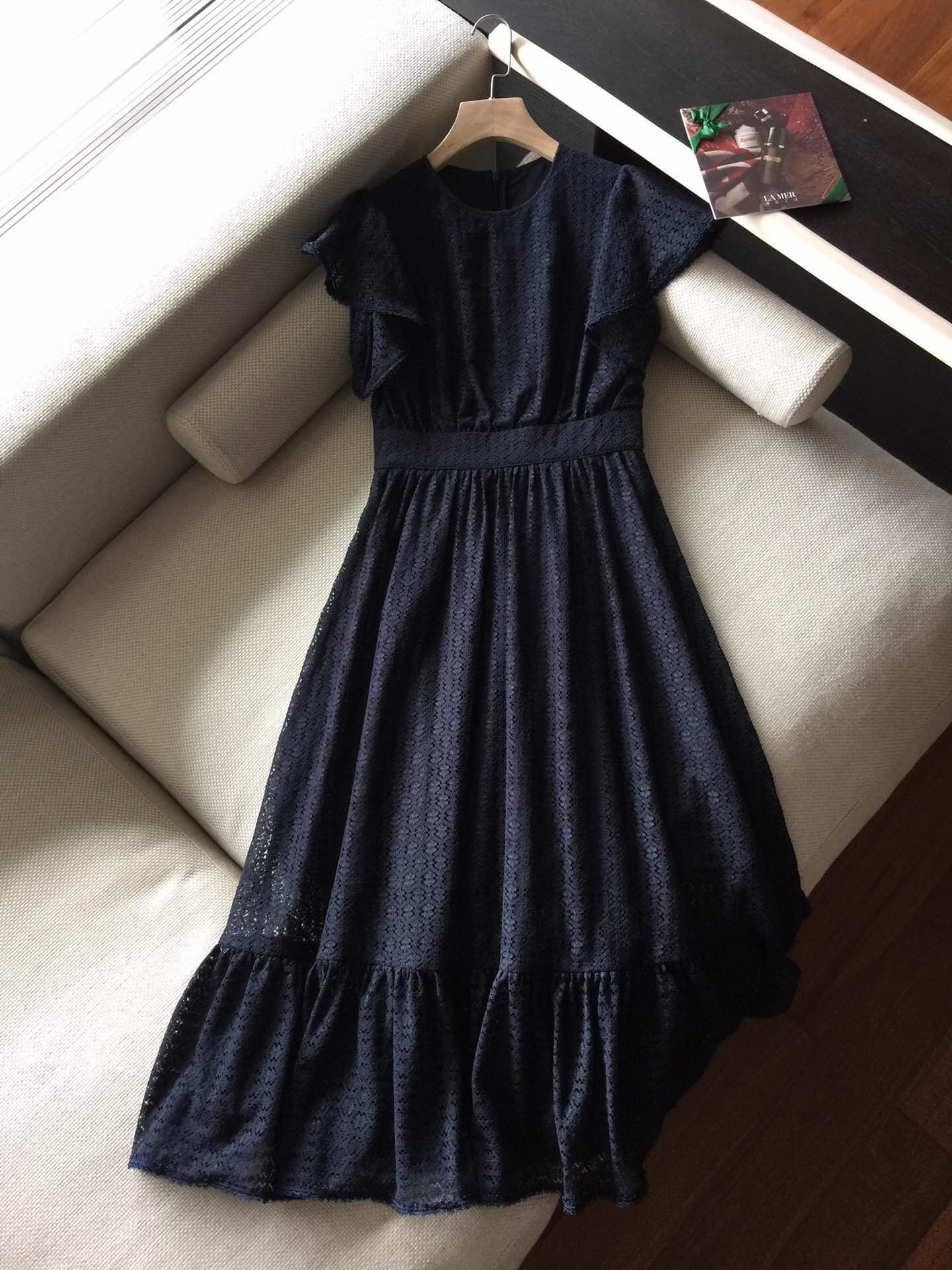 2019 New Fashion Stitching Ruffled Lace Luxury Dresses for Women Freeshipping