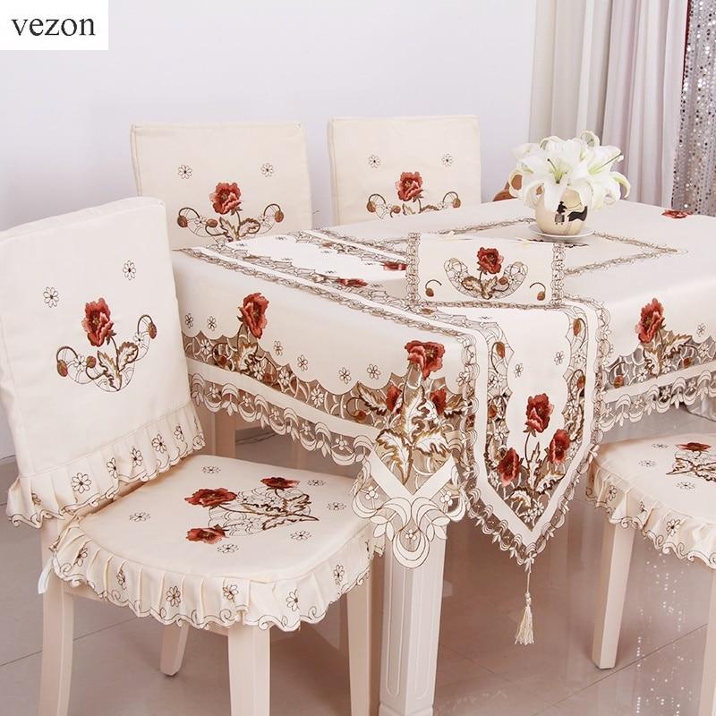 vezonホットエレガント刺繍花柄テーブルクロス手作りカットワーク刺繍入りテーブルリネン布カバーオーバーレイホームテキスタイル装飾