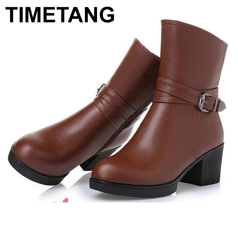 TIMETANG Brand Shoes Women Boots warm Wool Snow Boots 2018 Plus Size Genuine Leather shoes woman
