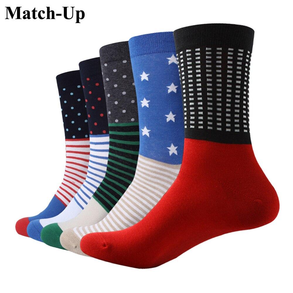 Match-up Men Fashion Super Hero Color Cotton Socks Argyle Casual Crew Socks Us 7.5-12 5 Pairs/lot