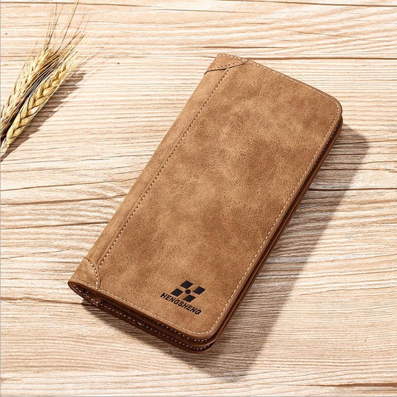 ジッパー付き高品質の新しい到着レザーメンズ財布卸売レザーロングレザーカード財布、送料無料