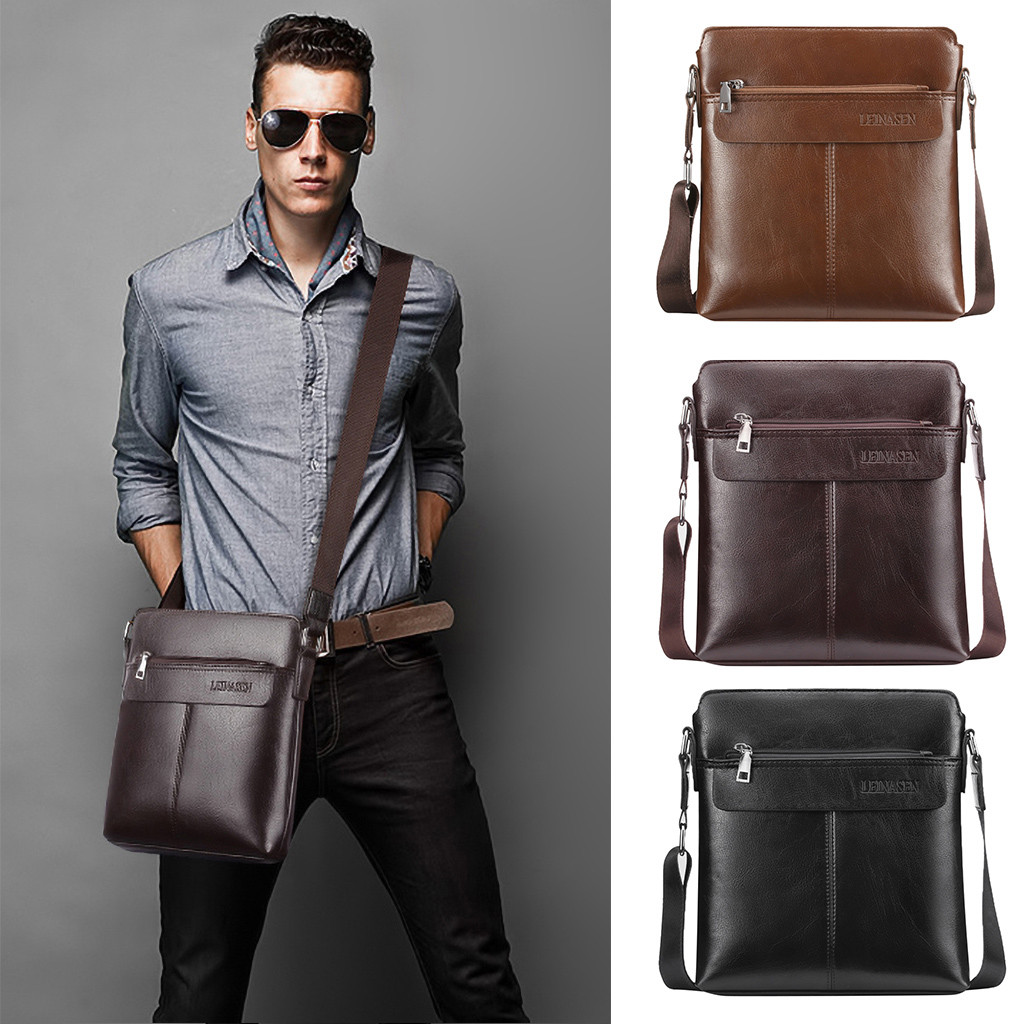 Simple Dot Briefcase Business Men Vintage Shoulder Bags Crossbody Bags Retro Zipper Handbags Casual Man Shoulder Bag