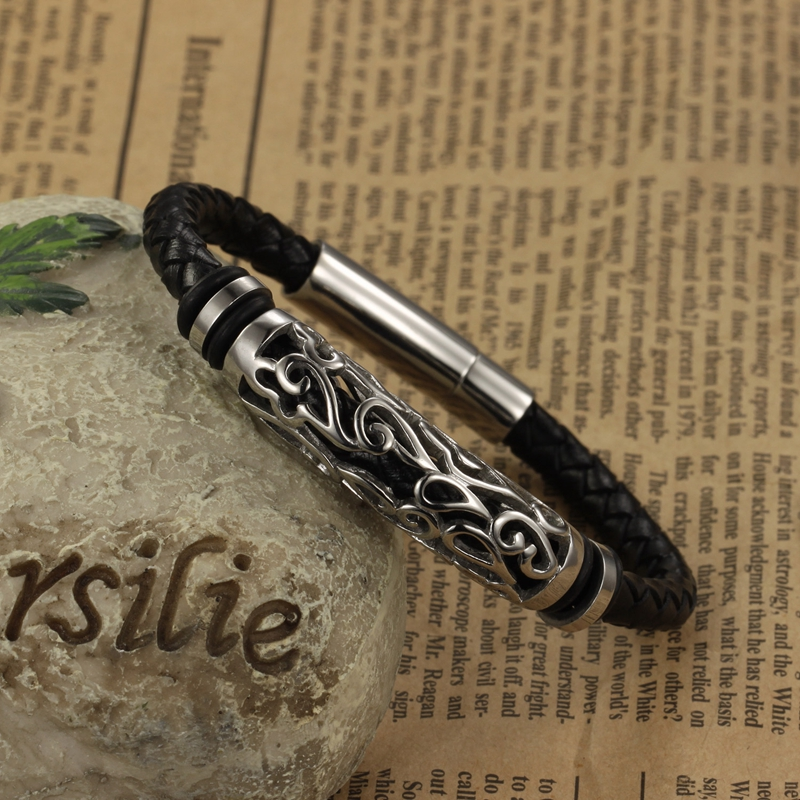 Genuine Leather Bracelet Stainless Steel Mens