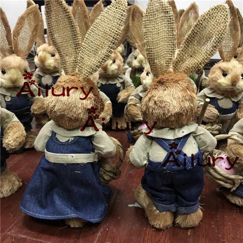 33 センチメートル、カウボーイ牧歌的なわらウサギセット、クールウサギのペア、ショップ oranment 、庭の装飾、イースターギフト