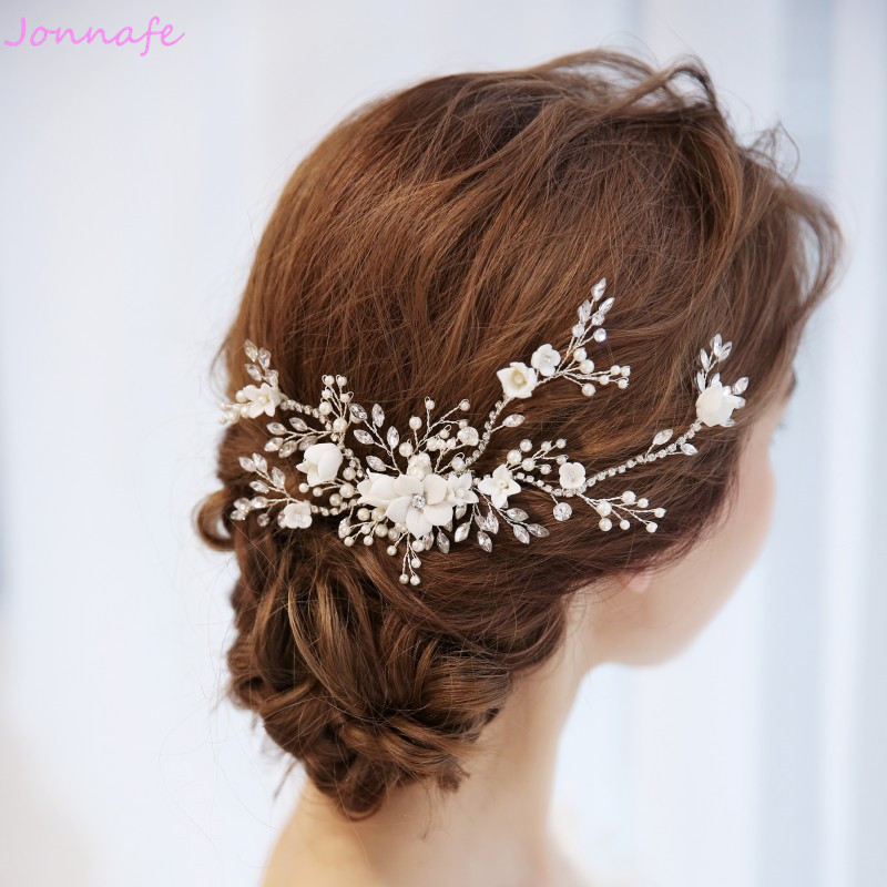 Jonnafe Charming Bridal Floral Hair Vine Pearls Wedding Comb Hair Piece Accessories Women Prom Headpiece Jewelry women s hair clip simple scissor shape charming hair accessory