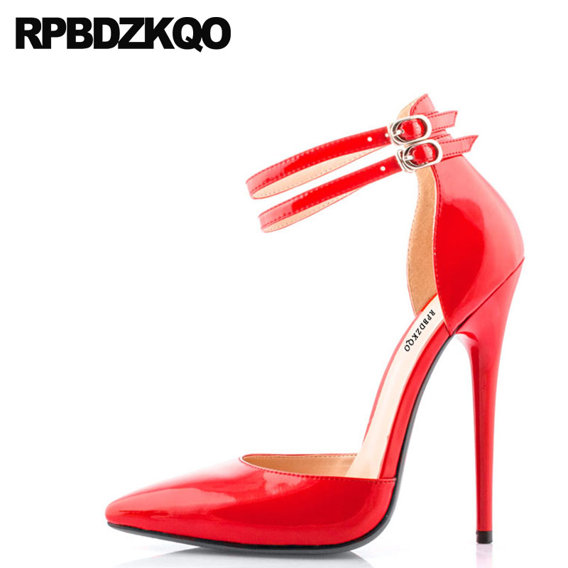 Pumps Fetish 2018 Fashion Red Thin 11 43 Footwear Big Size Shoes Pointed Toe Women 12 44 14cm Super High Heels Ankle Strap Sexy big size 40 41 42 women pumps 11 cm thin heels fashion beautiful pointy toe spell color sexy shoes discount sale free shipping