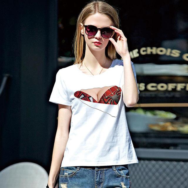 Spiderman Woman T Shirts Torn Bra