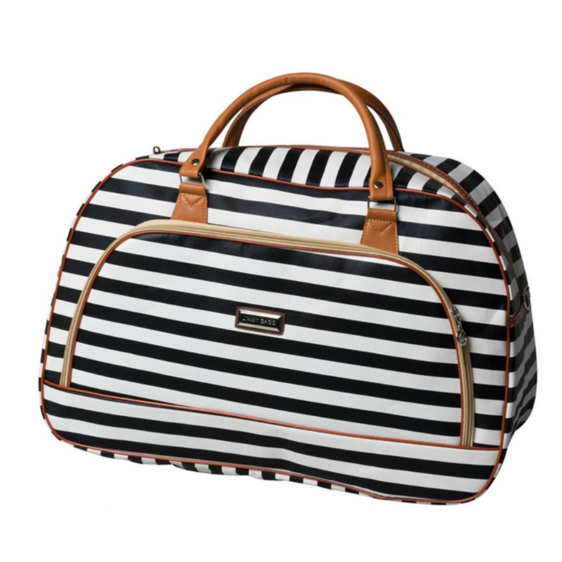 JTRVW Luggage Bags for Travel Red With Black White Stripes Color Print Travel Duffel Bag Waterproof Fashion Lightweight Large Capacity Portable Duffel Bag for Men /& Women