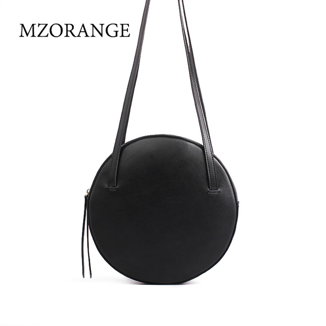 MZORANGE New 2018 Simple women's round bag leather circle box handbags messenger bag for lady causal shoulder bags portable bags