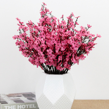 silk white cherry blossom artificial flowers bouquet for wedding home room decoration babysbreath wholesale