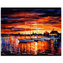 Diy Oil Painting By Numbers,Diy Canvas Painting,Sunset,Sea Boat Coloring Numbers For Home Decor
