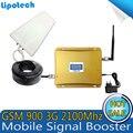 Conjunto completo LCD 3G Celular Reforço de Sinal de Telefone Celular GSM 900 mhz UMTS 2100 mhz Sinal Móvel Impulsionador Repetidor Amplificador de celular